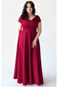 Бордовое вечернее платье для полных фото
