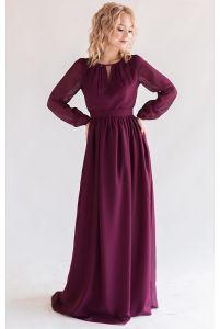 Элегантное платье с длинным рукавом марсала фото