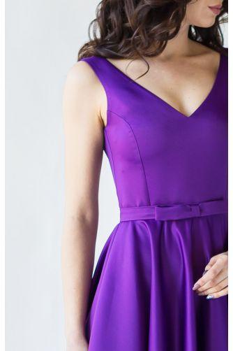 Фиолетовое вечернее платье атласное в Киеве - Фото 2
