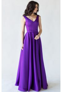 Фиолетовое вечернее платье атласное фото