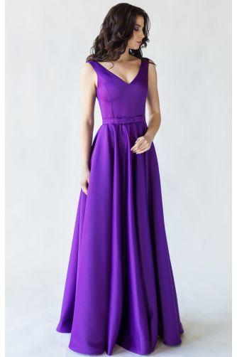Фиолетовое вечернее платье атласное в Киеве - Фото 1