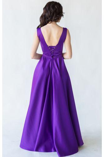 Фиолетовое вечернее платье атласное в Киеве - Фото 3