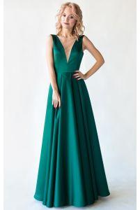 Изумрудное выпускное платье с открытой спиной фото