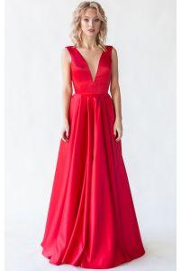 Красное вечернее платье с открытой спиной фото