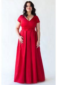 Платье А-силуэта для полных красное фото