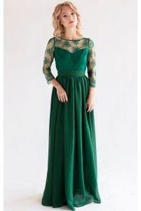 Платье с кружевным верхом и рукавом изумрудное фото