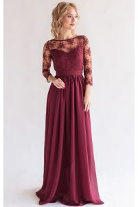 Платье с кружевным верхом и рукавом марсала фото