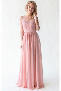 Платье с кружевным верхом и рукавом пудровое фото