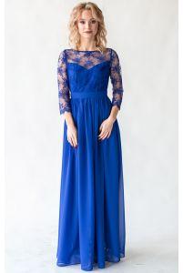 Платье с кружевным верхом и рукавом синее фото