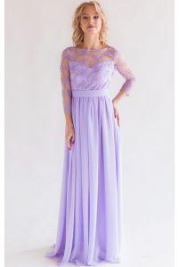 Платье с кружевным верхом и рукавом сиреневое фото