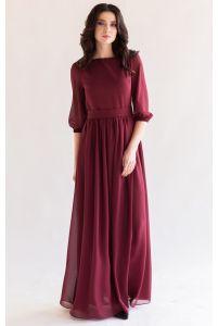 Платье в пол с рукавом марсала фото
