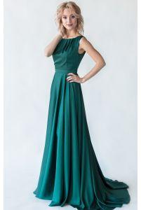 Шелковое платье со шлейфом фото