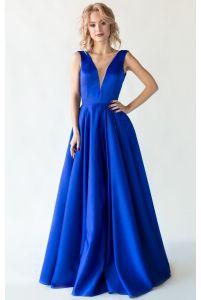 Синее вечернее платье с открытой спиной фото
