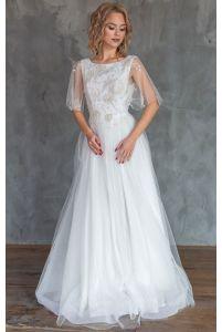 Свадебное платье с вышивкой цветами фото