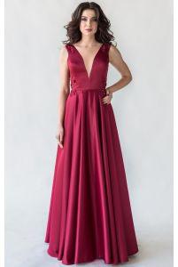 Вечернее платье с открытой спиной марсала фото