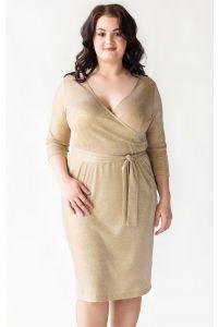 Золотое коктейльное платье для полных фото