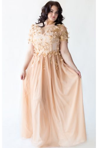 Золотое вечернее платье для полных в Киеве - Фото 1
