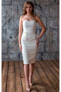 Коктейльное платье футляр айвори фото
