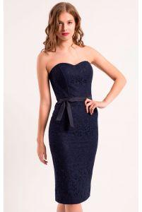Коктейльное платье футляр темно синее фото