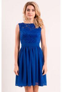 Коктейльное платье с шифоновой юбкой синее фото