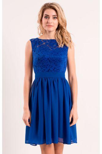 Коктейльное платье с шифоновой юбкой синее в Киеве - Фото 1