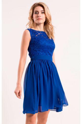 Коктейльное платье с шифоновой юбкой синее в Киеве - Фото 3
