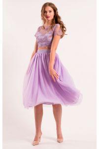 Коктейльный костюм топ и юбка миди фото