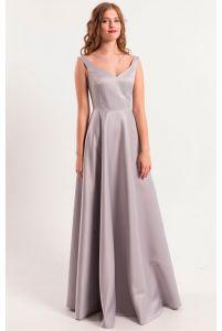 Атласное вечернее серое платье фото