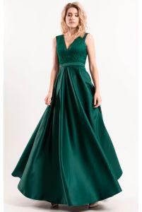 Изумрудное платье с красивым декольте фото