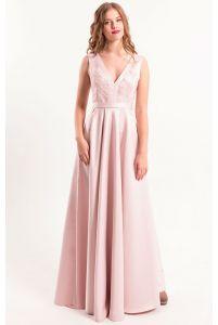 Вечернее платье с декольте пудра фото