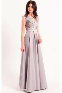 Роскошное вечернее платье серое фото