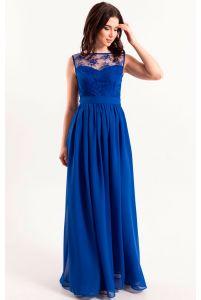 Синее вечернее платье в пол фото
