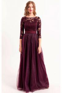 Вечернее платье марсала с пышной юбкой фото