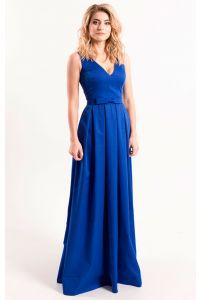 Вечернее платье с декольте синее фото