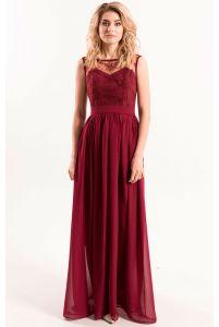 Вечернее платье с кружевом марсала фото