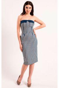 Платье в полоску без бретелей фото