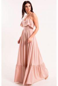 Нюдовое платье с открытой спиной фото