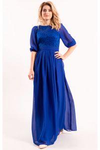 Платье длинное закрытое синее фото