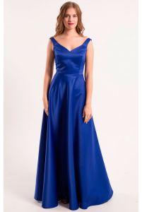 Атласное выпускное платье синее фото