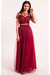 Длинная юбка с сеткой марсала фото