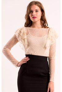 Блуза с рюшами кружевная фото