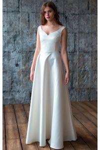 Атласное свадебное платье фото