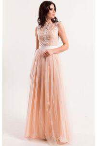 Свадебное платье шампань с кружевом фото