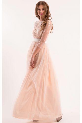 Свадебное платье шампань с рукавом в Киеве - Фото 2