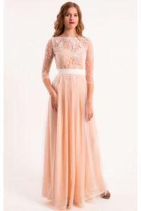 Свадебное платье шампань с рукавом фото