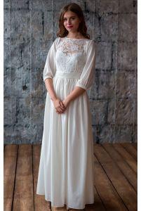 Закрытое свадебное платье фото