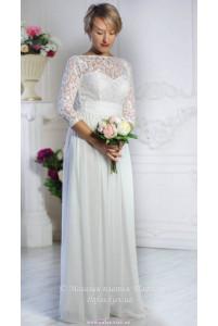 Белое платье с рукавом фото