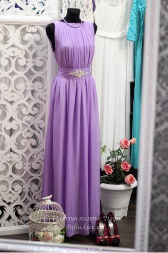 Фиолетовое платье с брошью в Киеве - Фото 1