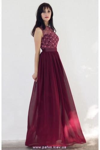 Платье в пайетках бордовое