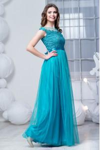 Насыщенно бирюзовое платье фото